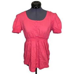 Roxy Babydoll Hot Pink Pleated Cinched Blouse